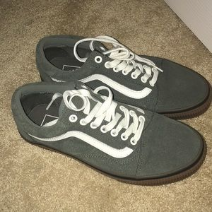 Olive green and tan vans shoes. Size 8.5 women's.